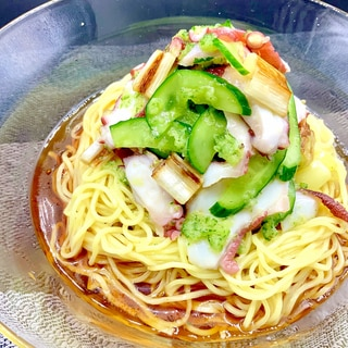 きゅうりとタコのゴマ油和え涼麺☆彡