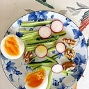 胡瓜、ゆで卵、ラディッシュ、胡桃