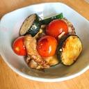 ズッキーニとプチトマトの麺つゆマヨ炒め