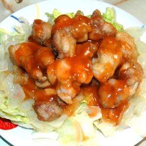 辛くて美味しい鶏肉のチリソースがけ