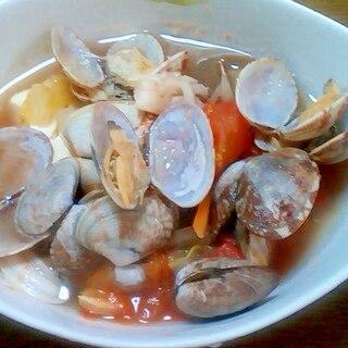あさり貝と野菜のトマトスープ