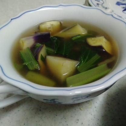 なすと小松菜の和風スープ