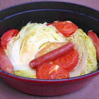 ストウブで☆ウインナーとキャベツのトマト蒸し煮