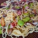 空豆とキノコのペペロンチーノ