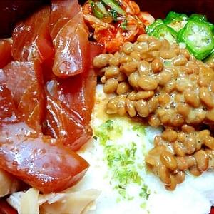 辛味漬け鮪と納豆オクラのネバトロ丼