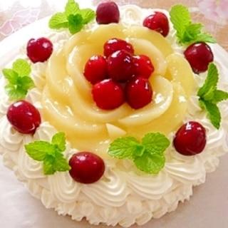 桃とさくらんぼのバースデーケーキ