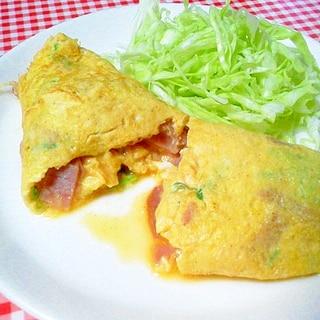 焼豚&ねぎの中華風オムレツ