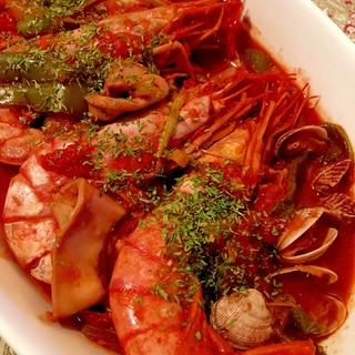 えびといか、あさりのトマト煮♩(電気圧力鍋使用)
