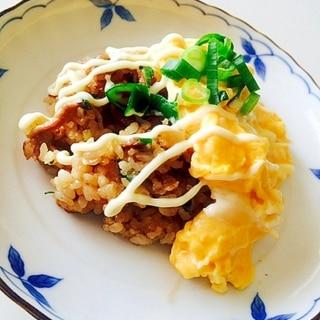 ネギと豚肉の味噌オムライス