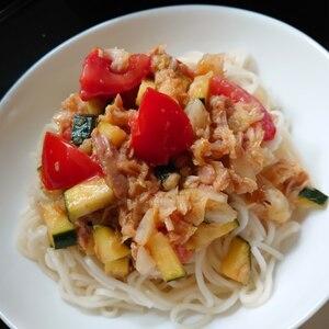 夏‼️ズッキーニ・トマトのイタリアン〜そうめん♪