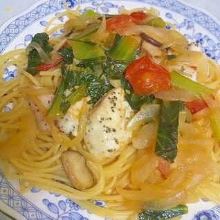 野菜たっぷり☆さわらとトマトのスパゲティ