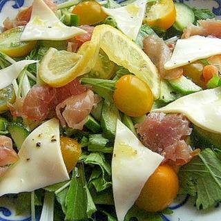 レモンドレッシングで❤水菜&生ハムのサラダ♪