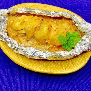 コクうま♡秋鮭とさつまいもの味噌マヨホイル焼き