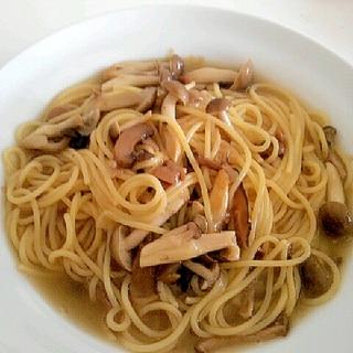 キノコのスープスパゲッティ