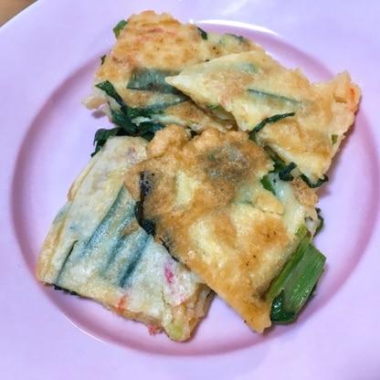 桜エビと溶けるチーズをプラスしました。シンプルな配合で、モチモチ美味しいチヂミができました!