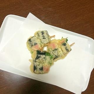 魚肉ソーセージの大葉&海苔巻き天