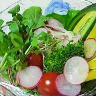 クレソンを入れて彩りよく野菜サラダ