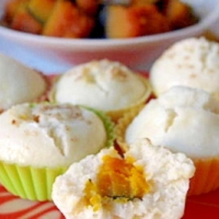 かぼちゃの煮物で蒸しパン