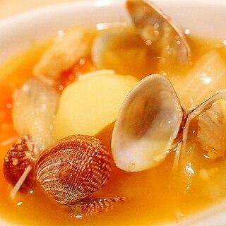 お味噌汁の代わりに♪簡単野菜とあさりのブイヤベース