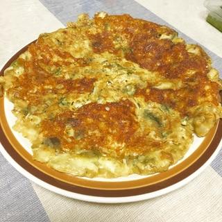キムチ鍋の残りでチーズチヂミ!