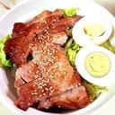 豚ロース肉で簡単!ゆで卵乗せ!豚の照り焼き丼♪