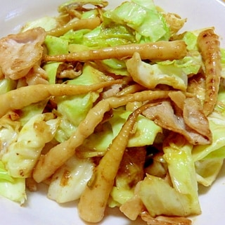 姫竹とキャベツの味噌ピリカラ炒め