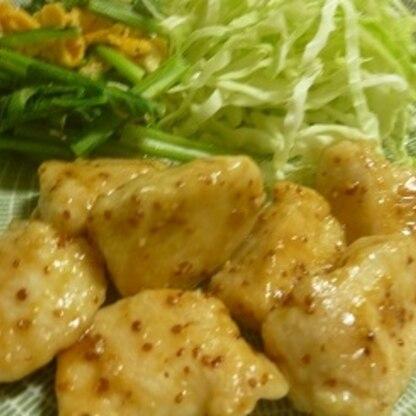 冷蔵庫で残っていたマスタードとハチミツでこんなに美味しい料理が出来て満足♪