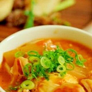 豆腐とエビのチゲ