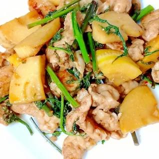 お酒にあうおつまみ、豚肉と筍の甘辛炒め