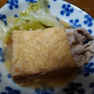 厚揚げと豚肉とキャベツの煮物