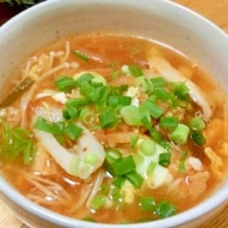 キムチ と えのきのタマゴスープ