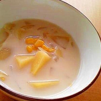 ジャガイモとコーン☆ミルキー味噌スープ