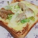 パリパリ鶏皮で簡単キャベツ乗せチーズトースト