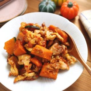 甘じょっぱいがくせになる!かぼちゃと豚肉の甘辛炒め