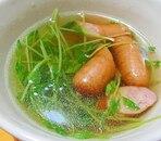 豆苗とウインナーのコンソメスープ
