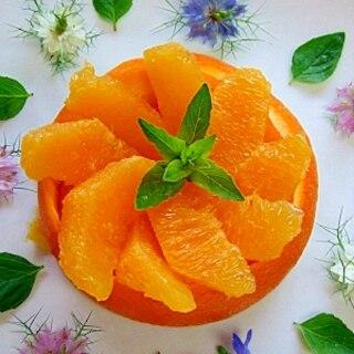 オレンジ皮むきでデザート*オレンジカットアレンジ
