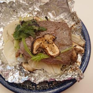 魚焼き器で一度に★野菜とステーキ