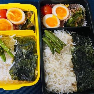 【弁当】肉無しで作る海苔シラス弁当