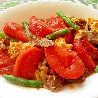 牛肉とトマトと卵の炒め物
