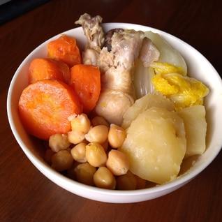 手羽元の塩漬けと白菜のコシード風