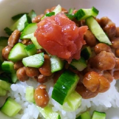 納豆にきゅうり、食感よくて、梅干でひきしまっておいしかったです(^^)