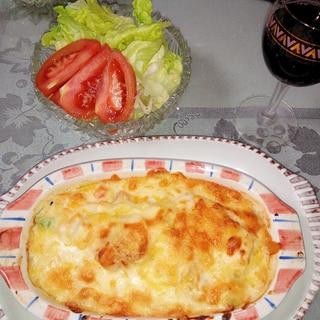 失敗なしのホワイトソース☆ ホタテ・豆腐グラタン