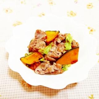 スパイス風味♪カボチャとキャベツの豚肉炒め