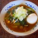 小松菜とモヤシとコーンの味噌ラーメン