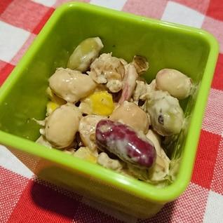 【包丁使わず作り置き】豆とチーズのサラダ