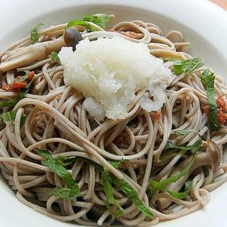 ヘルシー爽やか減塩❤かけ蕎麦♪(梅干し&大葉ほか)