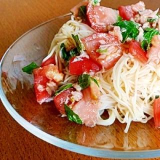 トマトとツナの冷製パスタ風そうめん