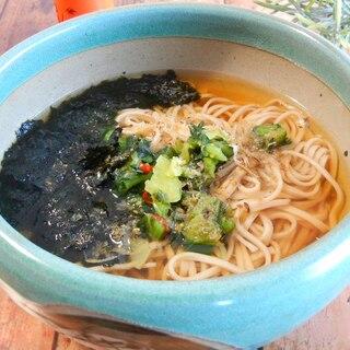 野沢菜と海苔とかつお節の冬のあったか蕎麦
