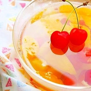 さくらんぼ入り♪缶詰のフルーツゼリー♡