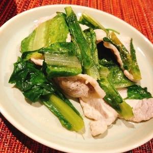 ロメインレタスと豚肉のポン酢炒め